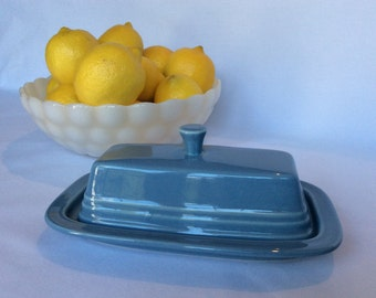 Vintage Fiestaware covered Butter Dish, Periwinkle Blue