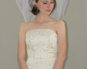 "Double Tier 18"" Bubble Veil with Cut Edge"