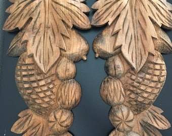 Solid Wood Hand Carved Wall Plaques - 1 Pair.