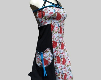 Dress tunic in black and motifs jersey.