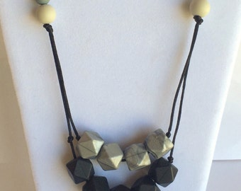 The Consuelo- Titanium, Black, Moonlight, Grey Teething Necklace/Nursing Necklace