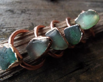 Sea glass ring, sea glass ring, glass, Seaglass, statement ring, Seaglass ring Seaglass jewellery, copper ring, Electroformed, boho, rustic,