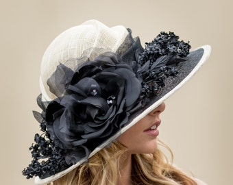 Cream & Black Large Brim Hat With Silk Organza Flowers