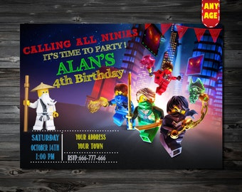 Lego Ninjago Invitation,Ninjago Invitation,Lego Ninjago Birthday Invitation,Lego Ninja Invite, Lego Ninjago Party,printable invitation
