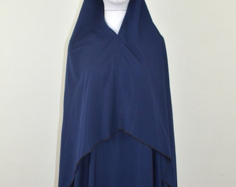Two Piece Navy Blue Abaya and High-Low Tie Back Khimar