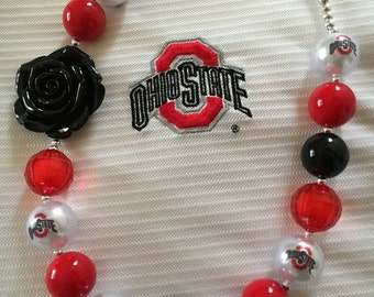 OHIO STATE BUCKEYES Bubblegum Necklace