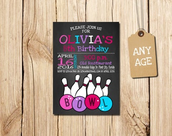 BOWLING BIRTHDAY INVITATION, Bowling Invitation, Printable Bowling Invitations, Bowling Party Invitation, Girl Bowling  Invitation, pink