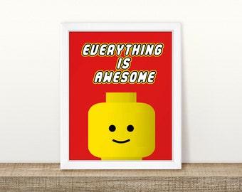 Everything is awesome Lego Printable, Digital Printable