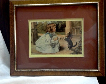 Early Framed Print of Girl with Cat/Maroon Cut out