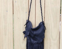 The Bandera Black Deerskin Fringe Bag Classic Motorcycle Western Purse