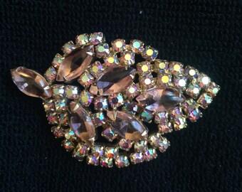 Vintage Light Pink Rhinestone Brooch