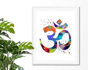 Om Symbol #4 Watercolor Art Print, Om Wall Art, Poster, Giclee,  Home Decor, Buddhist Symbol, Yoga, Zen decor
