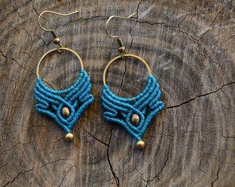 Macrame earrings, Turquoise boho earrings, Macrame hoops earrings, Gipsy macrame earrings, Tribal jewelry, Macrame jewelry, READY TO SHIP