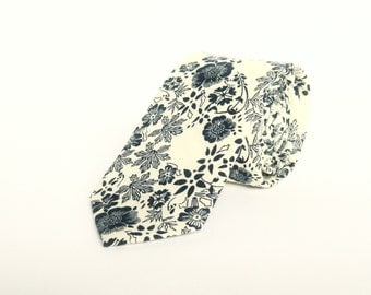 White navy blue floral tie wedding tie gift for him white navy floral skinny tie groomsmen uk