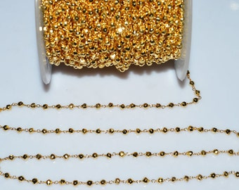Beautiful Gold Pyrite Rosary Beaded Chain-Gold Pyrite Beaded Gold Wire Wrapped Chain , 3-3.50 mm - RB5009