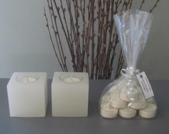 Two Small Square Forever Candle w/ a Dozen Scented Tea Lights