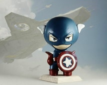 Captain America Figurine 100% Ceramic based on fine wood, Handcrafted, Handmade, Pop Culture, Magic, Cool Collectables