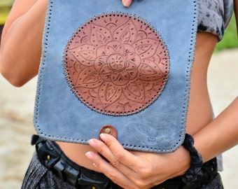 "Leather Clutch, HANDMADE Woman Сlutch ""Mandala"", BOHO STYLE, Blu Clutch, leather clutch leather clutch embossed"