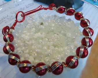 Wire Weave Red Pearl Bracelet