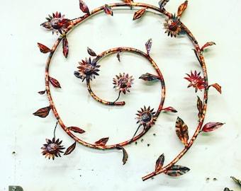 Copper flower wreath