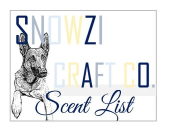 SNOWZI SCENT LIST with Descriptions for Snowzi Craft Co. Candles | Soy Candles, Wood Wick | Wax Tart Scents