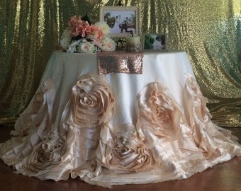 Rosette Tablecloth, Champagne Tablecloth, Champagne Rosette Tablecloth, Champagne Wedding Linens, , Champagne ablecloth