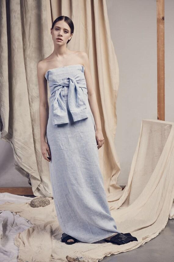 Light blue LINEN LONG DRESS