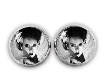 Bride of Frankenstein Stud Earrings Horror Jewelry Fandom Jewelry Cosplay Fangirl Fanboy