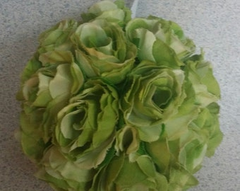 Green rosette pomander/kissing ball
