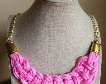 Chord Bib Necklaces with Gold Chain