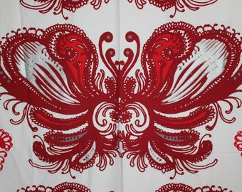 Abstract Fabric with beautiful pattern in red / white and silver. Designed by Tanja Orsjoki for Vallila Interior, Finland Scandinavian