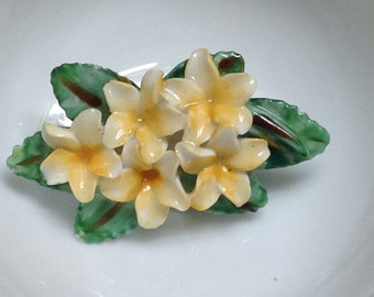 Vintage Artone Floral Brooch - Bone China, Made in England