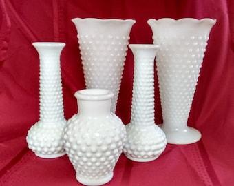 Milk Glass Vases  Hobnail  Weddings   Bridal Showers  Display   Flowers
