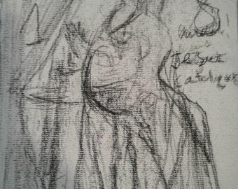 Spirit Drawing - unknown woman - drawn during seance