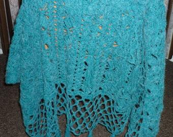 Hand knitted crochet, deep sea green shawl, wrap