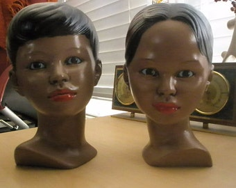 Vintage set of Holland mold-style busts of two lovely ladies - super kitschy