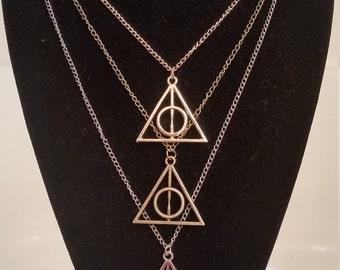 Harry Potter Deathly Hallows Charm Pendant Necklace Jewelry