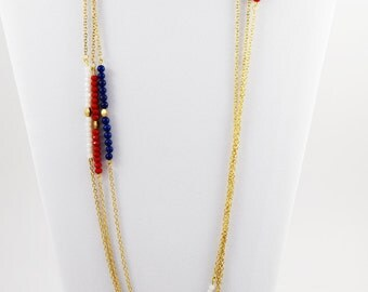 4th of July Necklace- Red, White, and Blue Necklace- Patriotic Necklace