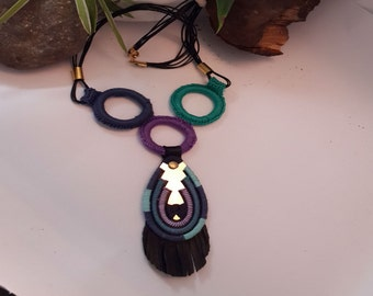 Modern style necklace, Rope pendant necklace, Long rope necklace, leather pendant, Purple turquoise blue necklace