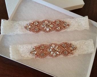 Wedding garter, Bridal Garter Set - ROSE GOLD CRYSTAL Wedding Garter Set