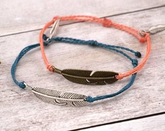 Feather Charm Bracelet, Wax Cord Bracelet, Waterproof Bracelet, Adjustable Friendship, Boho Surfer Bracelet, Stackable Beach Bracelet