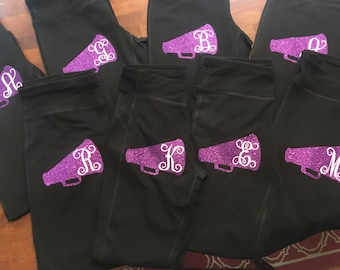 Custom Megaphone & Initial Iron-On Decal for Cheerleading Pants, Shirts, Shorts, or Jackets!