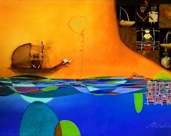 Painting three-dimensional, 90 by 130 cm, culture Inca, the gilded, art contemporary, color acrylic oil