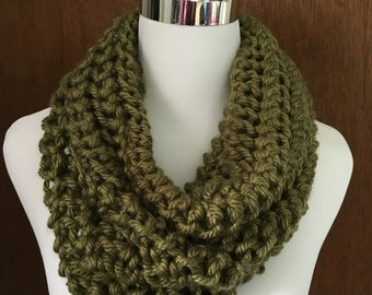 Light Olive Green Knitted Infinity Cowl Scarf