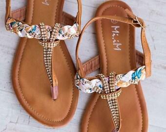 Floral Bling Sandals - Camel