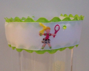 Embroidered Tennis Girl Headband