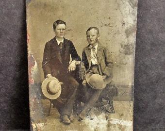 "Antique Tintype Photograph Two Boys 3.5"" x 2.5"""