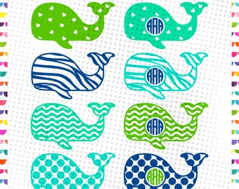 Whale Monogram SVG - patterned whale svg - Cut Files, Whale Monogram Frame SVG cut files for Cricut and Silhouette, Cutting Files, SVG files