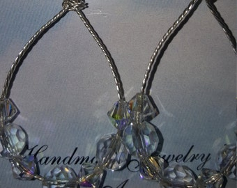 Swarovski Clear AB Crystal Earrings w/Twisted Wire