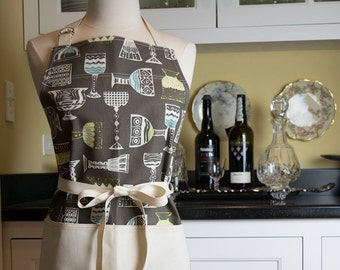 Cheers Vintage Stemware Apron USA Made Apron Womens Apron Cute Apron Vintage Apron